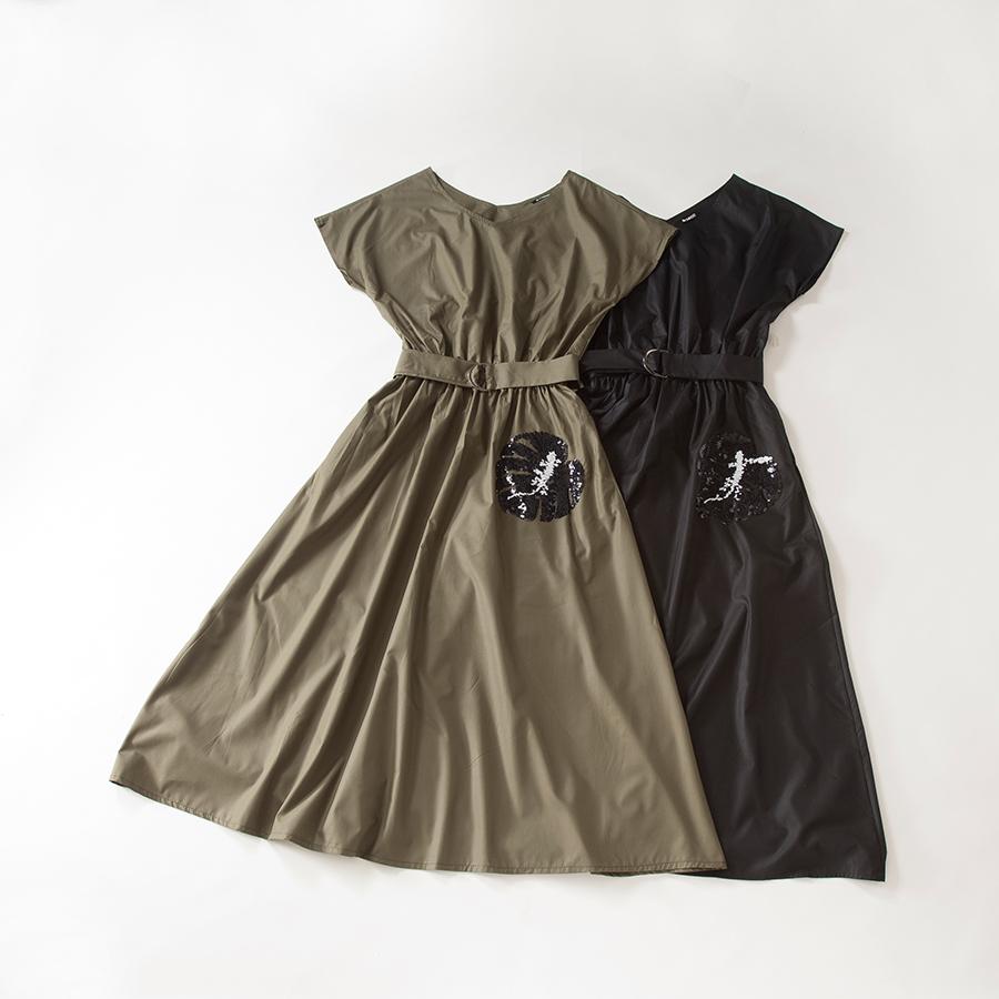 ベルト付きVネックマキシワンピース[Vneck maxi dress with belt]