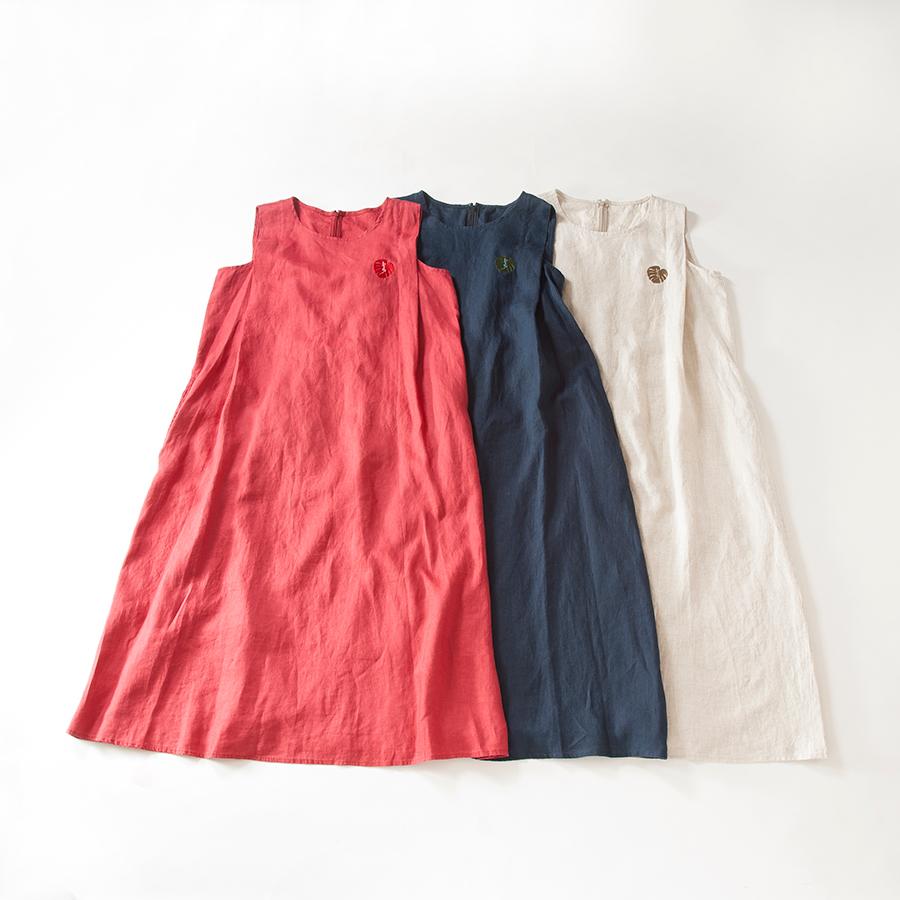 麻ノースリーブロングワンピース[Linen sleeveless  long dress]