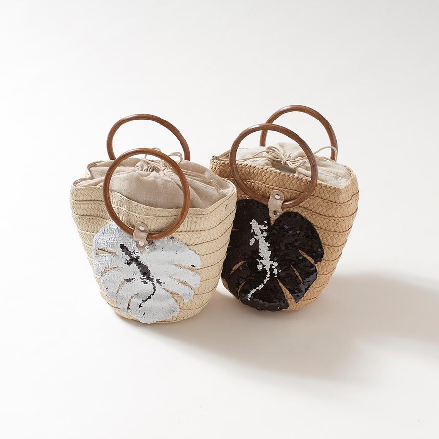 ロゴスパンコールかごバック[Logo sequin basket bag]